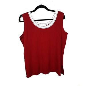 Exclusively Misook Crew Neck Acrylic Knit Tank Top